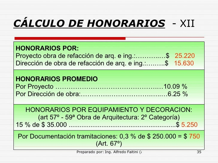 Honorarios prof for Honorarios arquitecto
