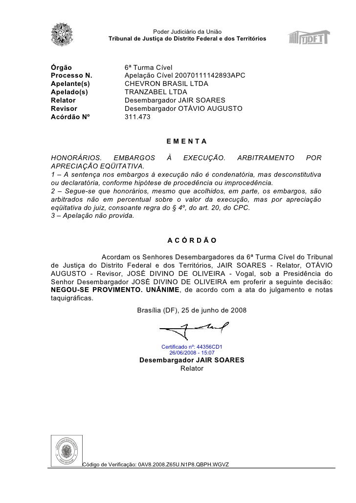 Poder Judiciário da União                   Tribunal de Justiça do Distrito Federal e dos Territórios    Órgão            ...