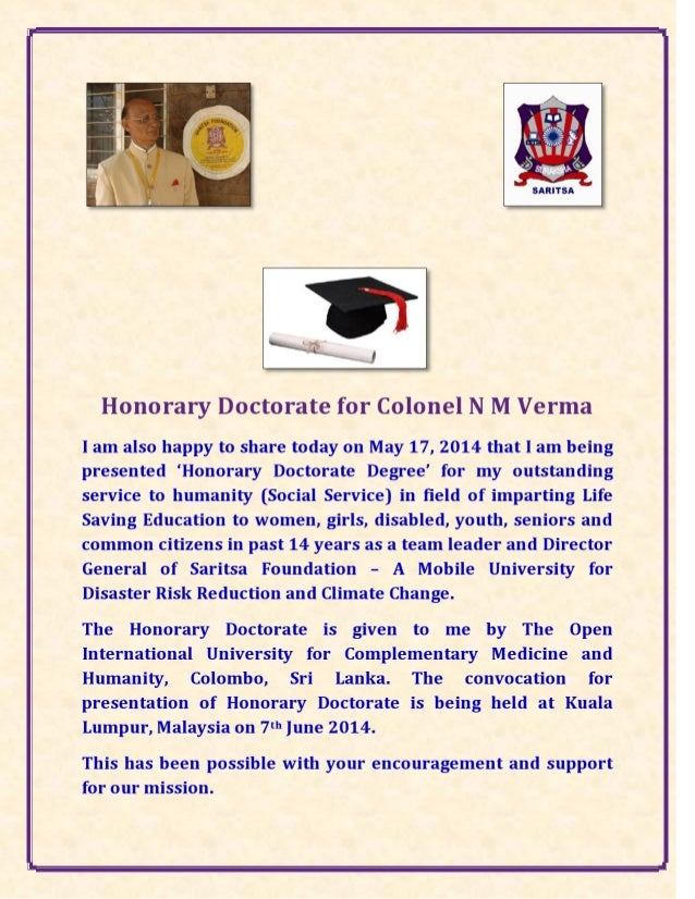Colonel Nagar M Verma Honoured with a Doctorates Degree for Humanitarian Service..