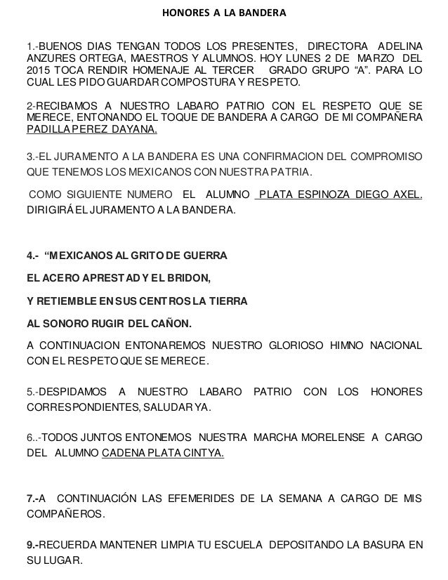 HONORES A LA BANDERA 1.-BUENOS DIAS TENGAN TODOS LOS PRESENTES, DIRECTORA ADELINA ANZURES ORTEGA, MAESTROS Y ALUMNOS. HOY ...