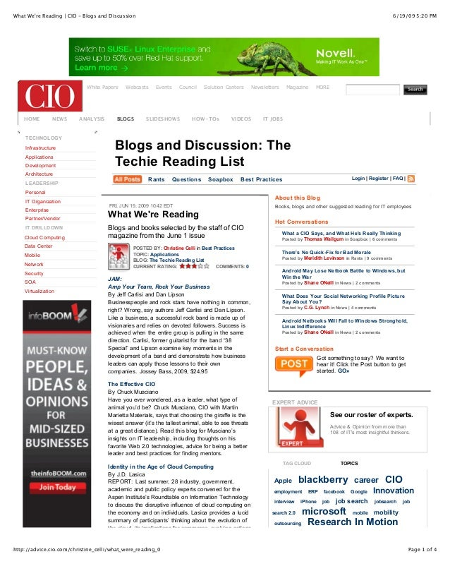 What We're Reading | CIO - Blogs and Discussion  White Papers  HOME  NEWS  TECHNOLOGY Infrastructure Applications Developm...