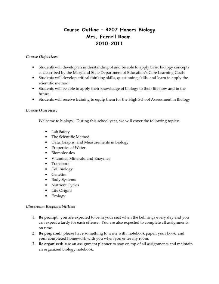 Course Outline – 4207 Honors Biology                              Mrs. Farrell Room                                   2010...