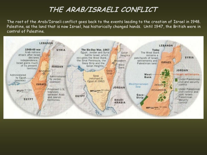 THE ARAB/ISRAELI CONFLICTThe root of the Arab/Israeli conflict goes back to the events leading to the creation of Israel i...