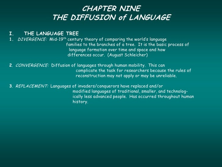 CHAPTER NINE                   THE DIFFUSION of LANGUAGEI.    THE LANGUAGE TREE1. DIVERGENCE: Mid-19th century theory of c...