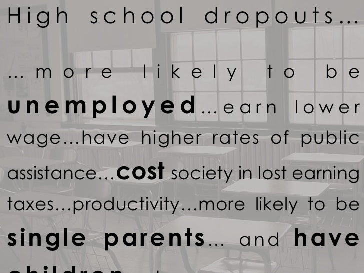 High school dropouts…… m o r e      l i k e l y     t o   b eunemployed…earn                    lowerwage…have higher rate...