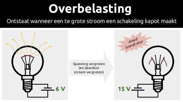 Spanning vergroten (en daardoor stroom vergroten) 15 V Overbelasting Ontstaat wanneer een te grote stroom een schakeling k...