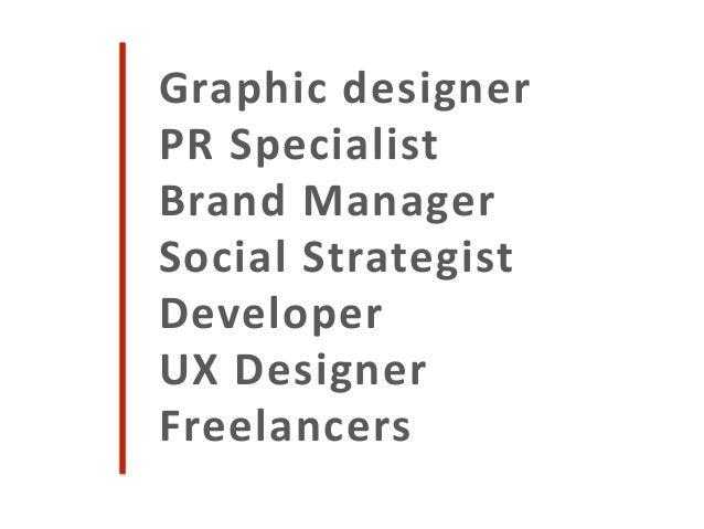 Graphic designer PR Specialist Brand Manager Social Strategist Developer UX Designer Freelancers