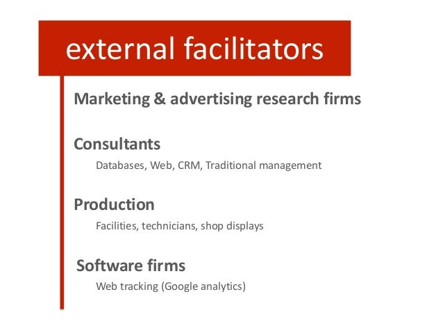 Marketing & advertising research firms Consultants Databases, Web, CRM, Traditional management Production Facilities, tech...