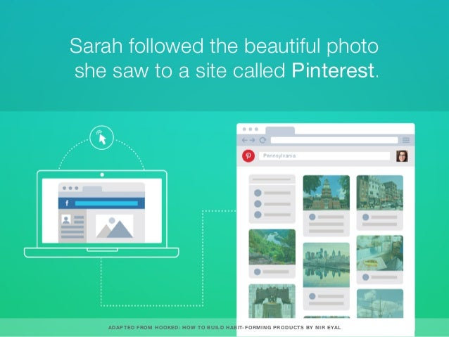 Sarah followed the beautiful photo she saw to a site called Pinterest. ADAPTED FROM HOOKED: HOW TO BUILD HABIT-FORMING PRO...