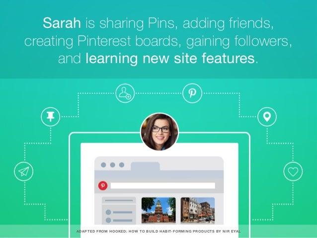 Sarah is sharing Pins, adding friends, creating Pinterest boards, gaining followers, and learning new site features. ADAPT...