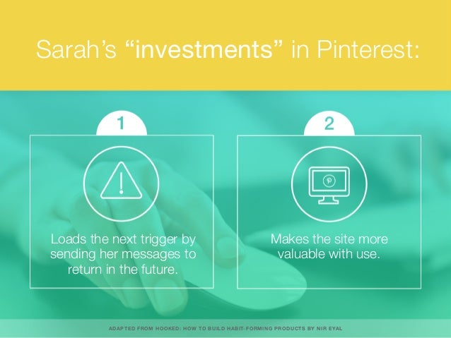"Sarah's ""investments"" in Pinterest: Loads the next trigger by sending her messages to return in the future. Makes the site..."