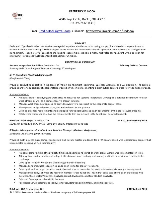 FREDERICK E. HOOK 4946 Rays Circle, Dublin, OH 43016 614 395  ...  E Resume