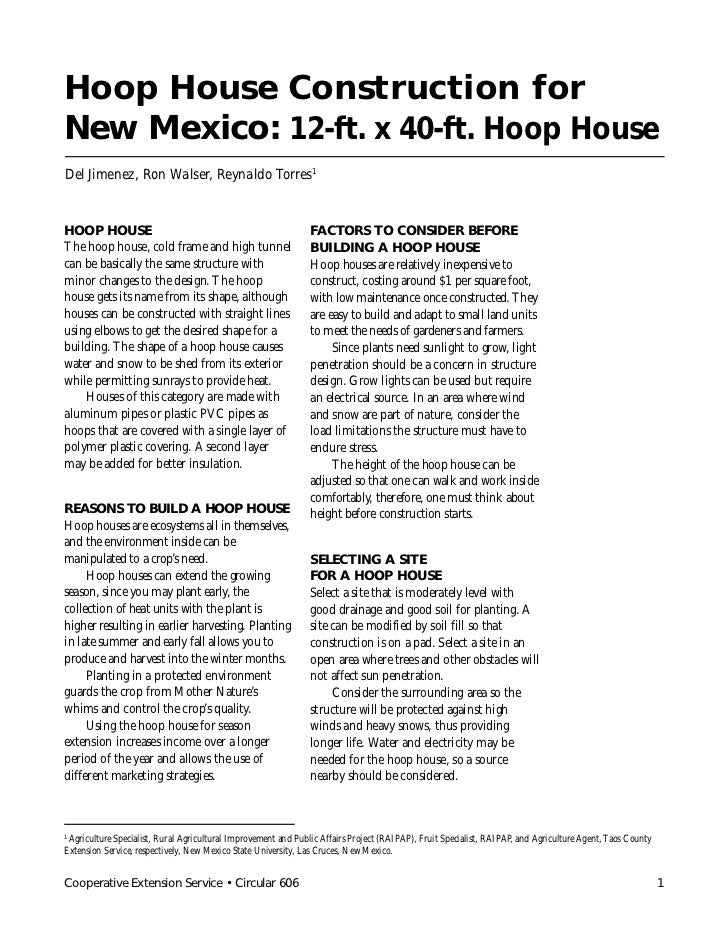 Hoop House Construction forNew Mexico: 12-ft. x 40-ft. Hoop HouseDel Jimenez, Ron Walser, Reynaldo Torres1HOOP HOUSE      ...