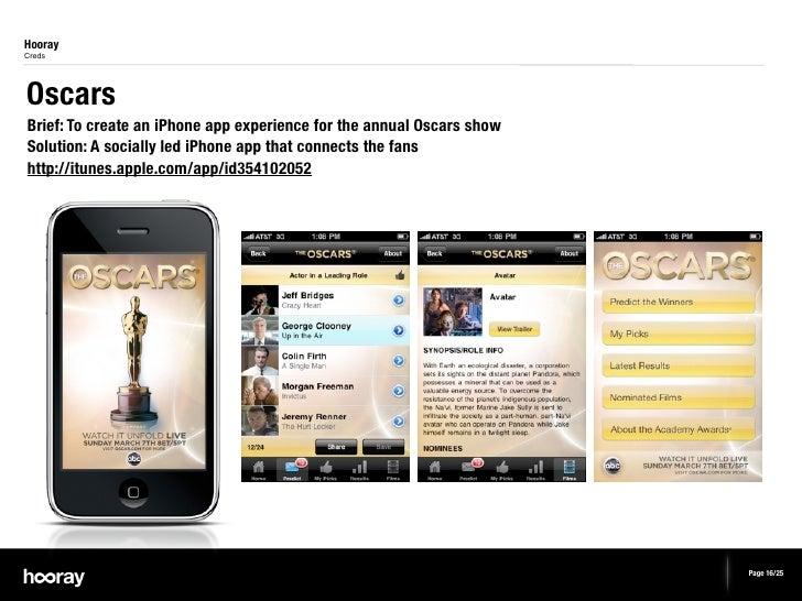 HoorayCredsOscarsBrief: To create an iPhone app experience for the annual Oscars showSolution: A socially led iPhone app t...
