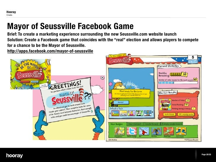 HoorayCredsMayor of Seussville Facebook GameBrief: To create a marketing experience surrounding the new Seussville.com web...