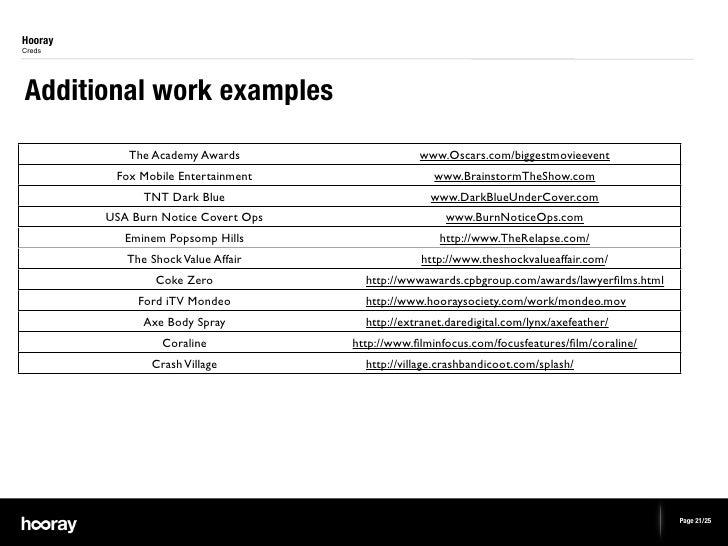 HoorayCredsAdditional work examples            The Academy Awards                    www.Oscars.com/biggestmovieevent     ...