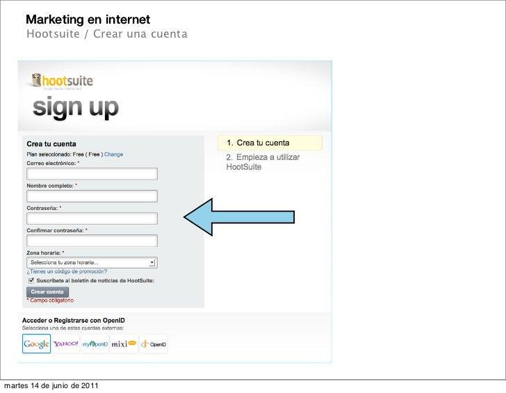 Marketing en internet      Hootsuite / Crear una cuentamartes 14 de junio de 2011