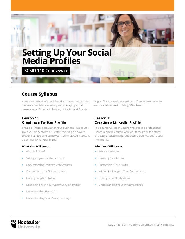 Setting Up Your Social Media Profiles – Syllabus