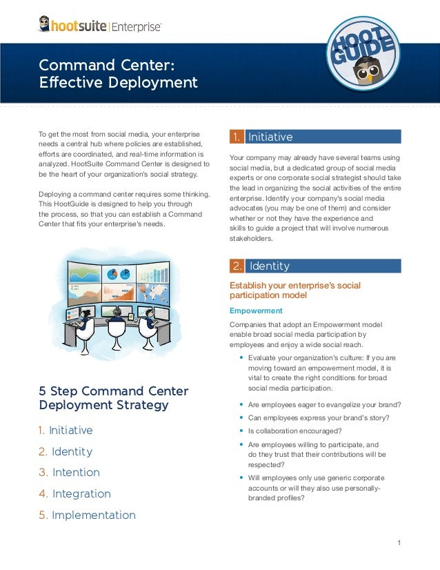 Command Center: Effective Deployment To get the most from social media, your enterprise needs a central hub where policies...