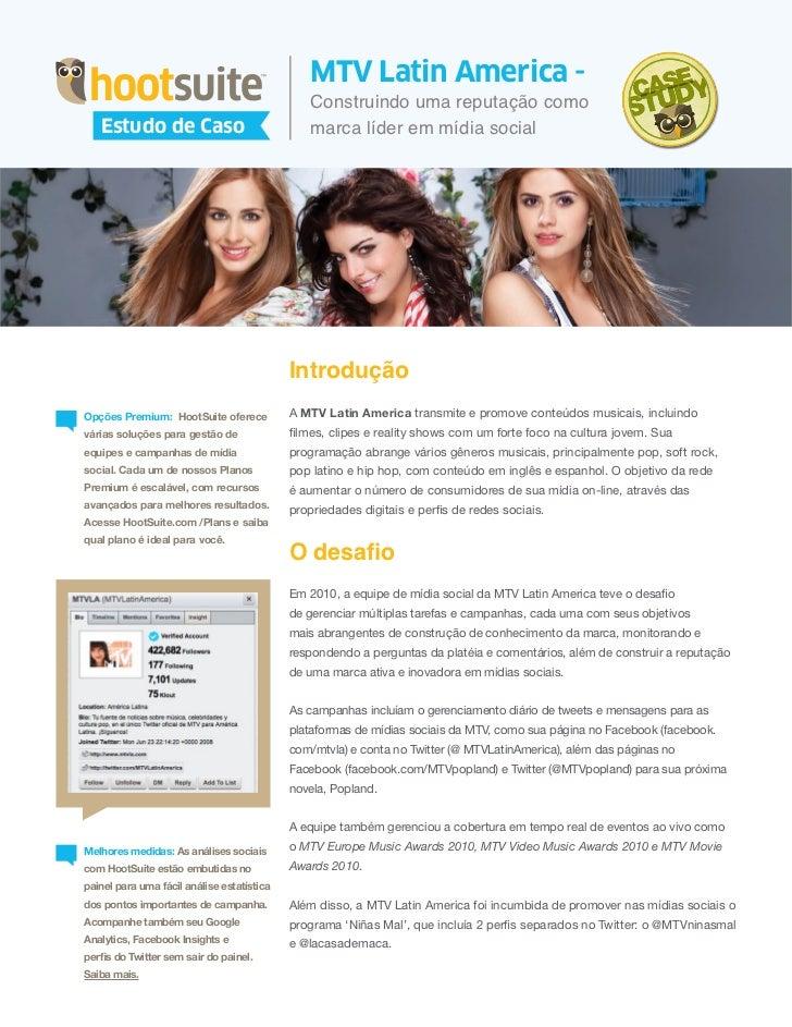 Estudo de Caso - HootSuite & MTV Latin America - Usando as Mídias Sociais para a Liderança (Português/Portuguese)