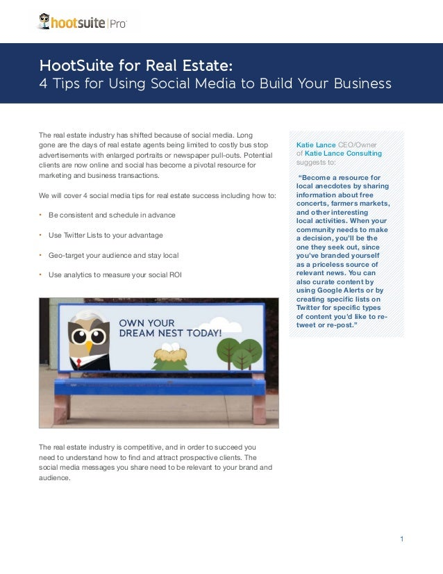 HootSuite for Real Estate Agents - A HootSuite Industry Sheet
