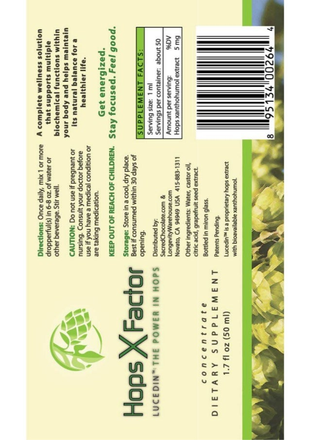 Hops X Factor (Lucedin) Xanthohumol LABEL (NEW FORMULA)