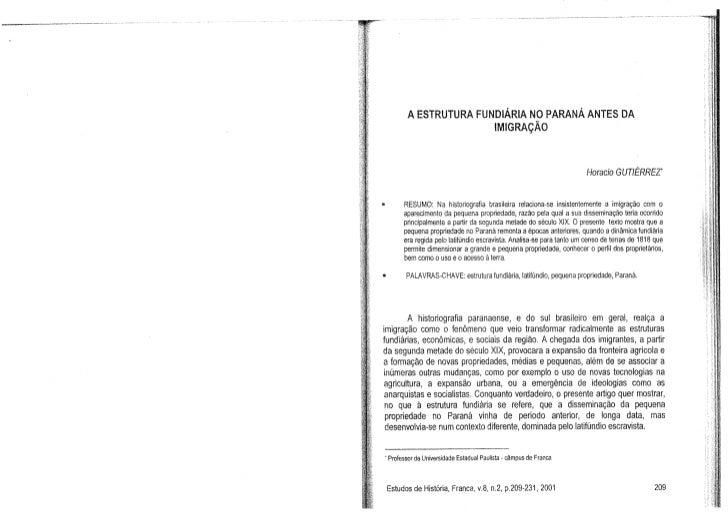 Horacio Gutiérrez - A estrutura fundiária no Paraná antes da imigração