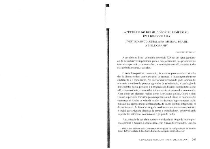 Horacio Gutiérrez - A pecuária no Brasil colonial e imperial-bibliografia