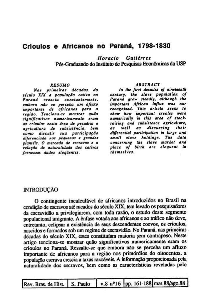 Horacio Gutiérrez - Crioulos e africanos no Paraná, 1798-1830