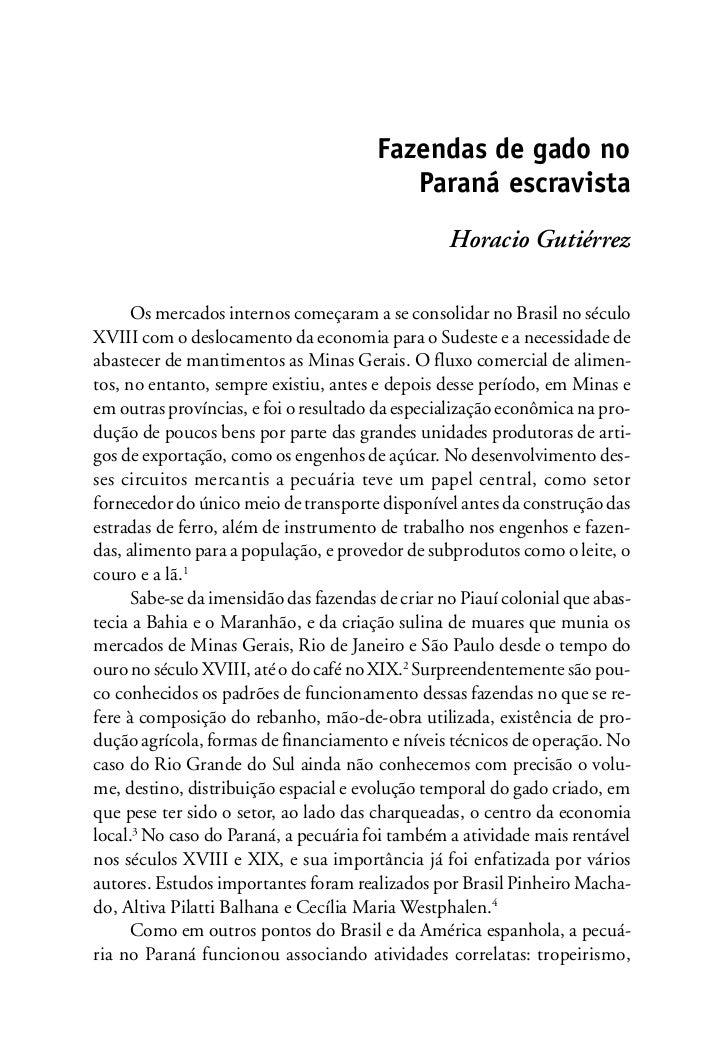 Fazendas de gado no                                           Paraná escravista                                           ...