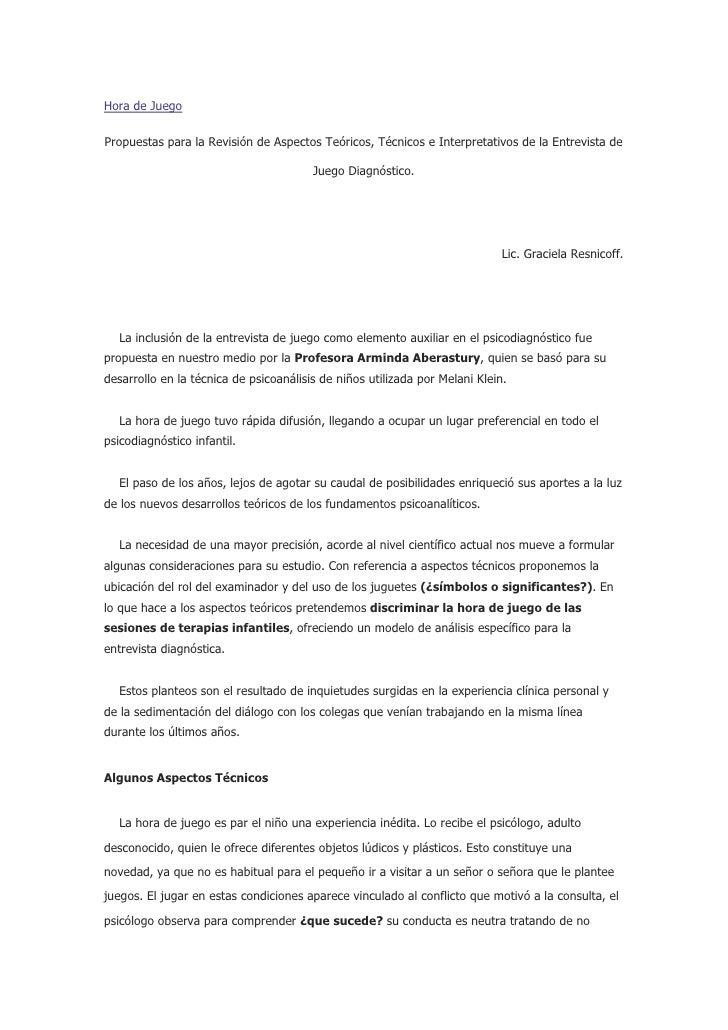 Hora de Juego  Propuestas para la Revisión de Aspectos Teóricos, Técnicos e Interpretativos de la Entrevista de           ...