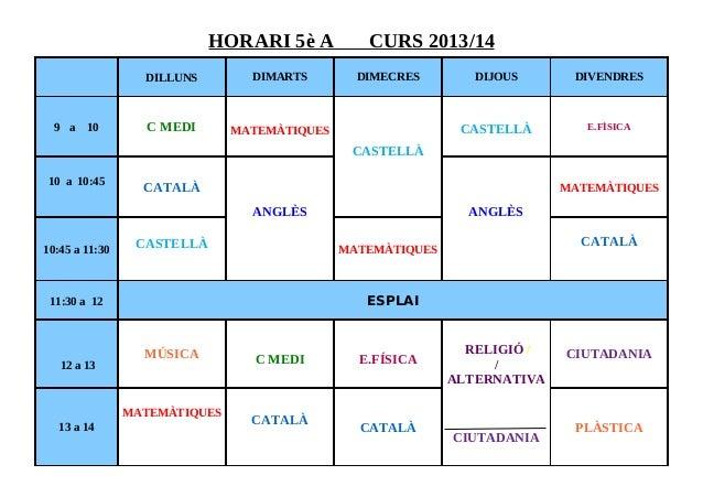 HORARI 5è A CURS 2013/14 DILLUNS DIMARTS DIMECRES DIJOUS DIVENDRES 9 a 10 C MEDI MATEMÀTIQUES CASTELLÀ CASTELLÀ E.FÍSICA 1...