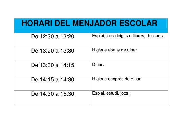 HORARI DEL MENJADOR ESCOLAR De 12:30 a 13:20   Esplai, jocs dirigits o lliures, descans. De 13:20 a 13:30   Higiene abans ...