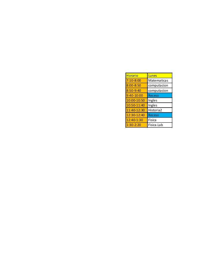 Horario       Lunes7:10-8:00     Matematicas8:00-8:50     computacion8:50-9:40     computacion9:40-10:00    Receso10:00-10...