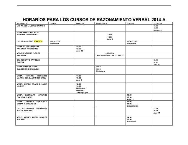 HORARIOS PARA LOS CURSOS DE RAZONAMIENTO VERBAL 2014-A MAESTROS LIC. ARACELI LÓPEZ CAMPOS  LUNES  MARTES  MIERCOLES  MTRA....