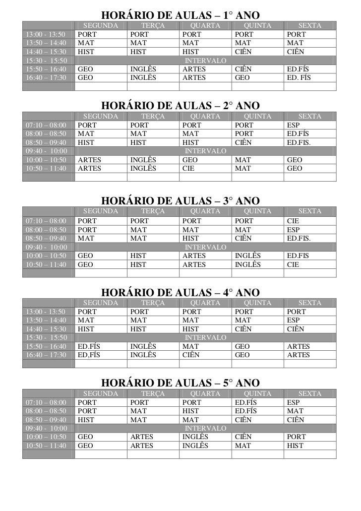 HORÁRIO DE AULAS – 1° ANO                 SEGUNDA        TERÇA      QUARTA      QUINTA      SEXTA13:00 - 13:50   PORT     ...