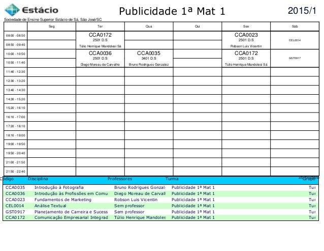 Publicidade 1ª Mat 1 Código Disciplina Professores Turma Grupo CCA0035 Introdução à Fotografia Bruno Rodrigues Gonzalez Pu...