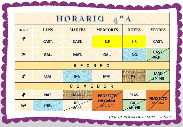 HORAS LUNS MARTES MÉRCORES XOVES VENRES 1ª CAST. CAST. E.F E.F. CAST. 2ª GAL. MAT. GAL. ING. CAST. AP.Pili R E C R E O 3ª ...