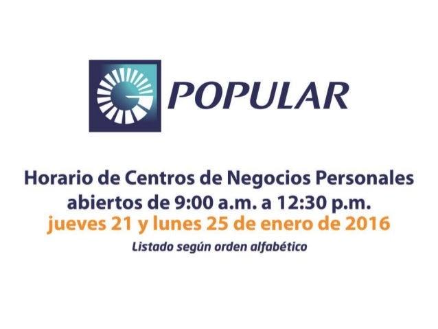 Horarios de Centro de Negocios Personales jueves 21 de enero de 2016