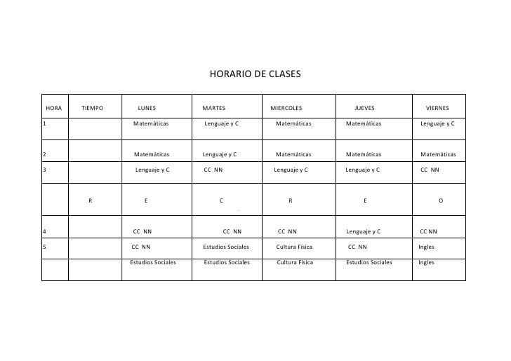 HORARIO DE CLASES<br />  HORA             TIEMPO                       LUNES                               MARTES         ...