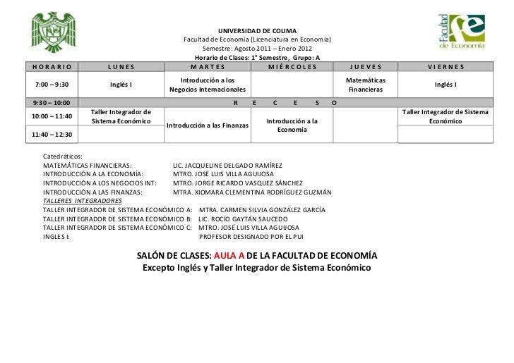 UNIVERSIDAD DE COLIMA                                            Facultad de Economía (Licenciatura en Economía)          ...