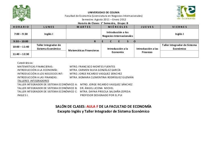 HORARIOS DE CLASES: 1ROS, 3EROS, Y 5TOS 2011 Slide 2