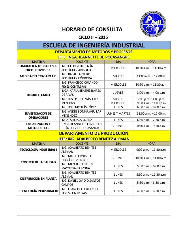 HORARIO DE CONSULTA CICLO II – 2015 ESCUELA DE INGENIERÍA INDUSTRIAL DEPARTAMENTO DE MÉTODOS Y PROCESOS JEFE: INGA. JEANNE...