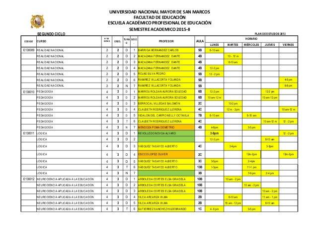 SEGUNDO CICLO LUNES MARTES MIÉRCOLES JUEVES VIERNES E130009 REALIDAD NACIONAL 2 2 D 1 BARRIGA HERNANDEZ CARLOS 5B 8-10 am ...