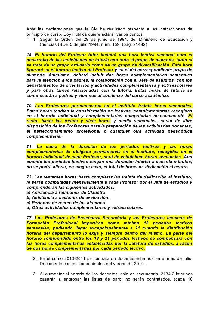 Ante las declaraciones que la CM ha realizado respecto a las instrucciones deprincipio de curso, Soy Pública quiere aclara...