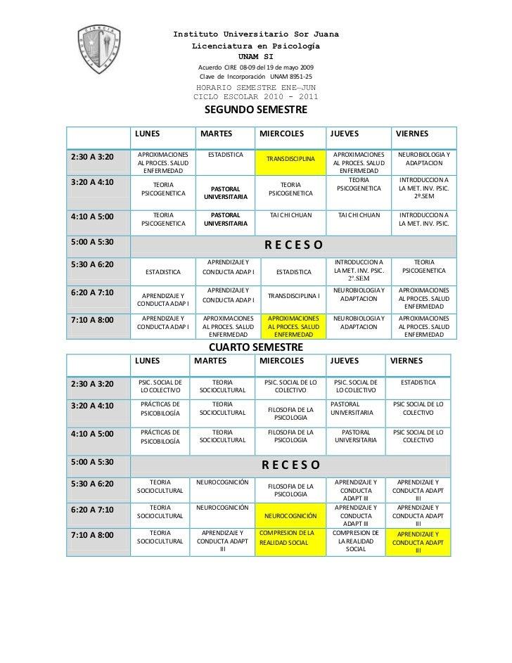 HORARIO SEMESTRE ENE –JUN<br />CICLO ESCOLAR 2010 - 2011<br />SEGUNDO SEMESTRE<br />LUNESMARTES MIERCOLESJUEVESVIERNES2:30...