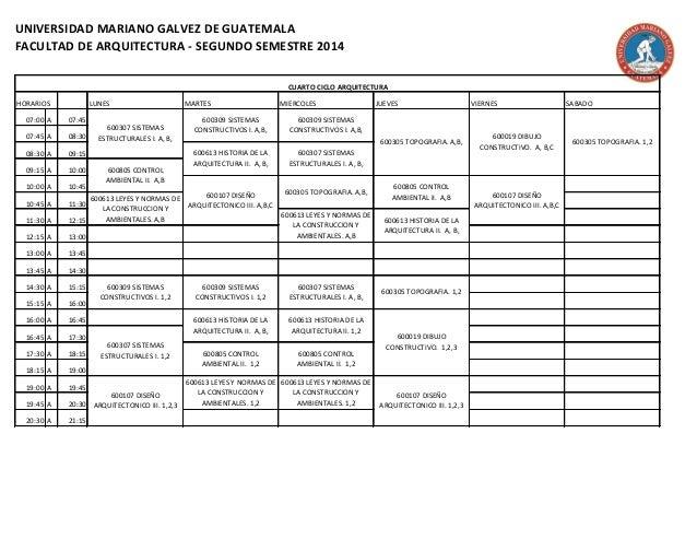horarios arquitectura 2 2014