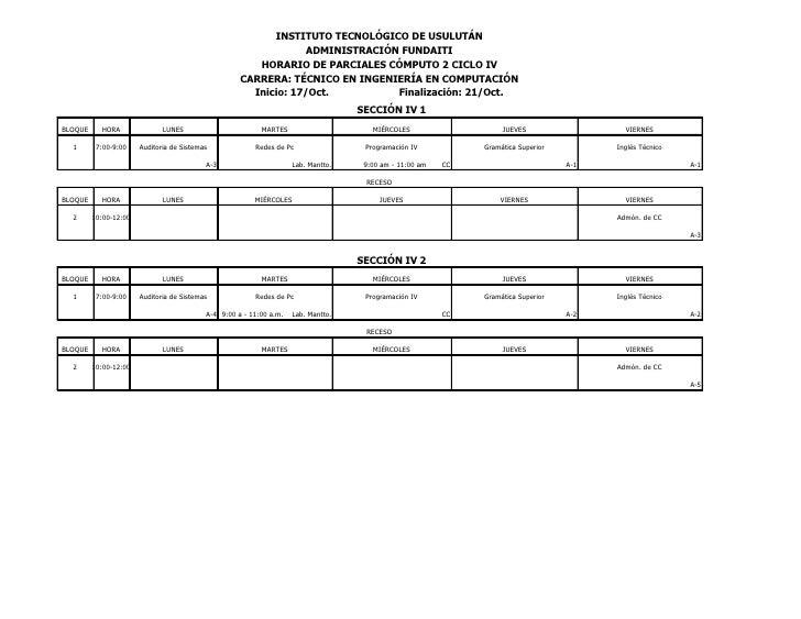 Horarios de parciales cómputo 2 oct 2011