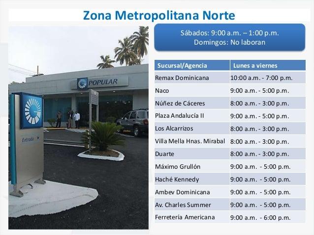 Horarios de sucursales banco popular zona metro norte for Ver sucursales telefonos