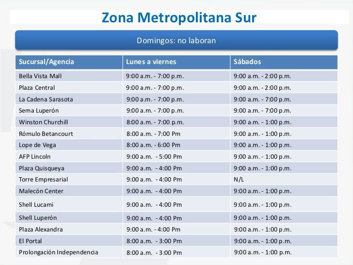 horarios de sucursales zona metro sur santo domingo
